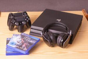 PS4 pro (CUH-7016B) 1TB + 2 Controller mit Headset und Spielen
