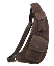 Men's Vintage Real Cow Leather Sling Shoulder Bag Cross Body Bicycle Work Bag