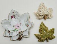 Vtg Nesting Stacking Leaf Dish Ashtray Set Lot Lefton China Japan Maple Leaves