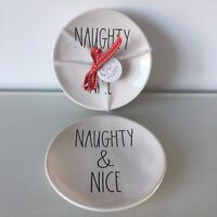 New Rae Dunn NAUGHTY & NICE LL Christmas 2019 Set Of 4 Appetizer Dessert Plates