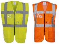 HI VIZ VIS ZIP UP VEST WAISTCOAT with Multi POCKETS Phone and ID pockets