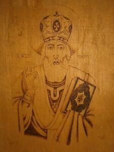 Saint Nicholas Antique Christian Painting Sacred Art Vtg Carved Wood Icon 1900s