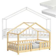 Kinderbett mit Rausfallschutz Haus Holz Weiß Bettenhaus Hausbett Bett Matratze