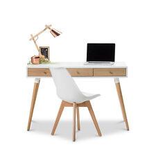 Modern WHITE Scandinavian Design Student Home Office Timber Desk W Oak Legs