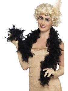 20s 1920s Fancy Dress Feather Boa Black 150cm 50g Flapper Boa New by Smiffys