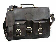 Men's Vintage Genuine Soft Leather Black Handbag Business Briefcase Bag