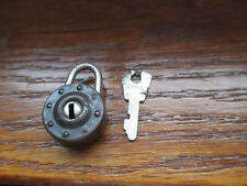 "Vintage Round LOCK - PADLOCK - with key 3/4"" ROUND WITH RIVET DESIGN"