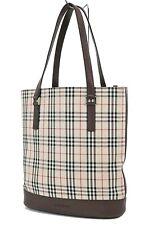 Authentic BURBERRY Brown Nova Check Canvas Tote Hand Bag Purse #36420A