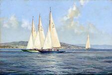 "Montague Dawson, Sailing Ship, Yacht Racing, Sail boats, Antique, ART PRINT 24"""