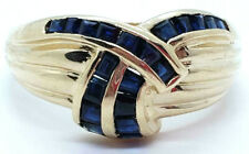 14k Yellow Gold 21 Channel Set Natural Sapphire Dome Band Size 8 RIng 4.3 Grams
