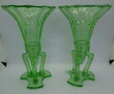 VINTAGE ART DECO GREEN URANIUM GLASS ROCKET VASES