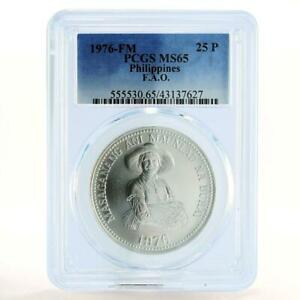 Philippines 25 piso Woman Holding Grain MS65 PCGS silver coin 1976