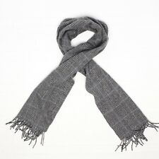 Jos A Bank Mens Cashmere Scarf Gray Blue Prince of Wales Glen Plaid Fringe Soft