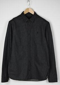 ALLSAINTS FOUNDRY LS Men's SMALL Soft Black Melange Casual Spread Shirt 31810_GS