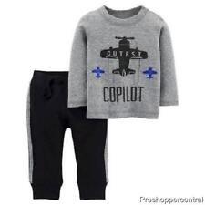 NEW Carter's Copilot Shirt and Pant Set - Black/Gray- Newborn