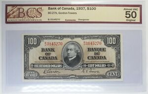 1937 - Bank of Canada - $ 100 - BC-27b - Gordon-Towers - Graded AU - 50