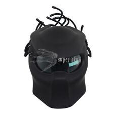 Matte Black LEDs Unique Safety Full Face Helmet Cool Predators Mask Fiberglass M