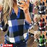 Womens Plaid V Neck Blouse Long Sleeve T-Shirt Ladies Loose Shirt Casual Tops