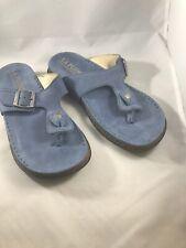 La Plume Womens Blue Strap Slide Sandals Size 36 S Leather Insole Upper