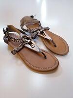 APT 9 Slip On T Strap Thong Slingback Metallic Pewter Sandals Womens Size 6 M