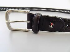 "Tommy Hilfiger $75 Black SYNTHETIC LEATHER SZ 37-38 WIDTH 1.25"" BRAIDED BELT L23"