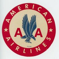 1940s American Airlines Luggage Label Vintage Airplane Travel Retro Eagle Logo