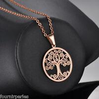 1 Pendentif Acier inoxydable L'arbre de Vie Strass Homme Personnalisé Rose d'or