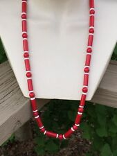 TRIFARI Red Tube Beads & White Disc Spacer Necklace Signed