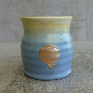 Remued Pottery Vase Blue Drip Glaze Australian Pottery Original Sticker 7cm tall