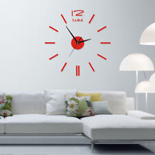 DIY Large Wall Clock Mirror Sticker Quartz Needle Clock Living Room Home Decor