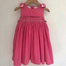Parisian Bebe Smocked Rose Pink Dress 24 Months Scallops Bows Slip