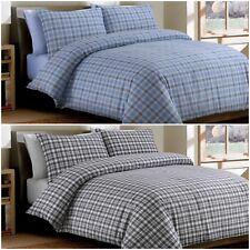 Bonton Flannel Plaid 100% Brushed Cotton Flannelette Duvet Cover Bedding Set