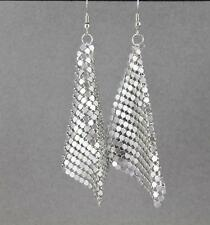 "Silver mesh earrings lightweight dangle liquid mesh metal 4"" long metallic flowy"