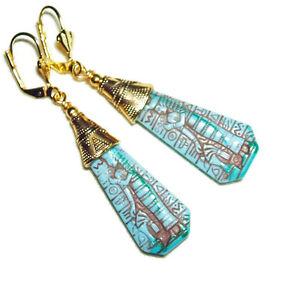 CZECH GLASS Egyptian Revival EARRINGS Pharaoh TURQUOISE BLUE Art Deco Gold Plate