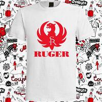 New RUGER Pistols Riffle Firearms Logo Men's White T-Shirt Size S-3XL