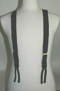 TRAFALGAR Suspenders Braces Black w/ White Stitch Pattern Button Closure NEW