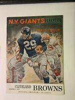 1962 (12/9) New York Giants vs Cleveland Browns NFL Football Program VERY GOOD