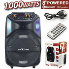 "8"" Portable Party LED Speaker USB Rechargeable Stereo Wireless Speaker 1000W"
