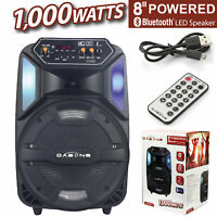 "8"" Portable Party LED Speaker USB Rechargeable Stereo Wireless Speaker 1000W"