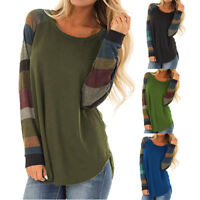Women Striped Long Sleeve Tops Shirt Casual Loose Pullover Tunic Shirt Blouse