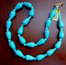 "Artisan Crafted Green Howlite & Blue Quartz Beaded Necklace 20""L NWT"