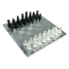 "Avant Garde Mirror Chess Board Set Frosted Glass Gloss Black Chessman 3"" King"