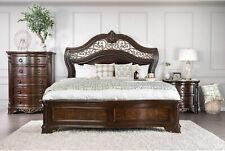 Traditional Brown 5pcs Bedroom Set w/ King Bed Dresser Mirror Nightstands ICA9