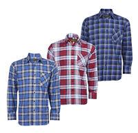 Baum Country da Uomo Manica Lunga Flanella Camicia a Quadri Abbigliamento Casual