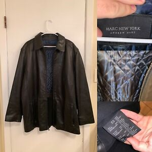 Marc New York Leather Jacket Mens Size L Black Aviator Bomber Quilted Full Zip