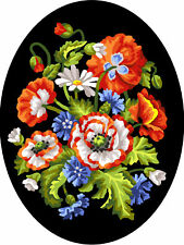 1x Printed Tapestry Thread Canvas Flowers Black Background Sewing Craft 7027