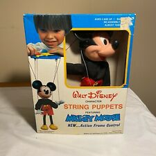 Walt Disney Mickey Mouse String Puppet with Action Frame Control - Vintage 1977
