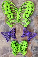Vintage Mid Century 60s 70s Colorful Funky Butterfly Wall Hangings Burwood Dart