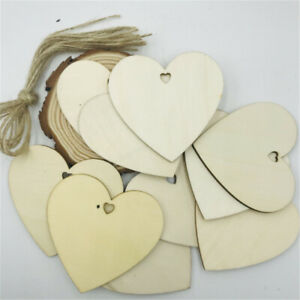 8cm Unfinished Wooden Hearts Laser Cut Drilled Hole Hanging Decoration 10 Pack