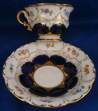 Nice Meissen Porcelain B-Form Small Cup & Saucer Porzellan Tasse B Form Cobalt